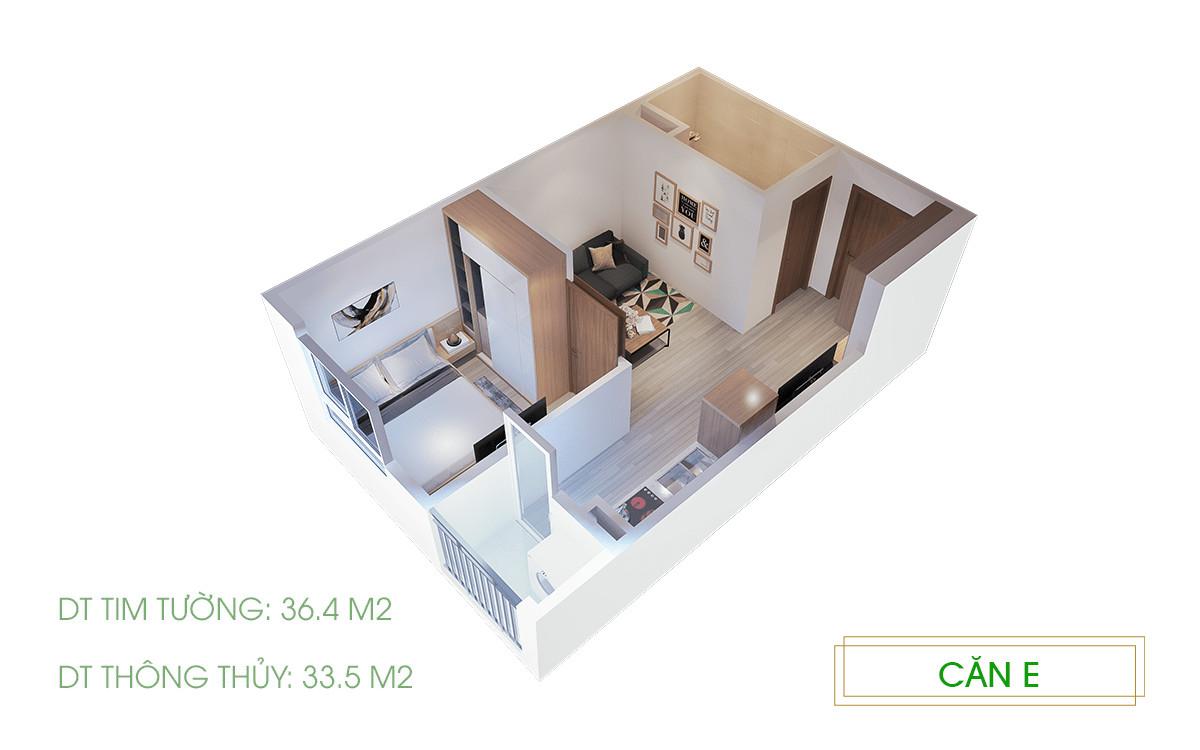 mô hình 3D 1PN 33.6m2