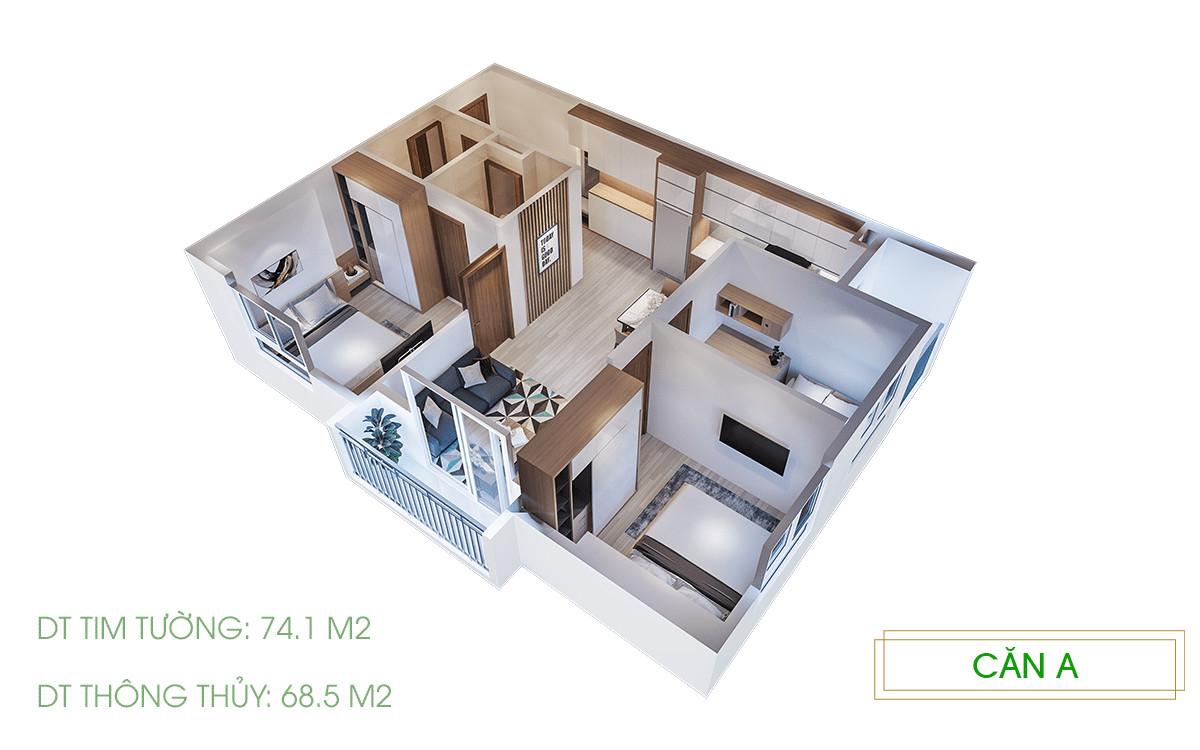 hình 3D 2.3pn căn hộ Ecolife Riverside