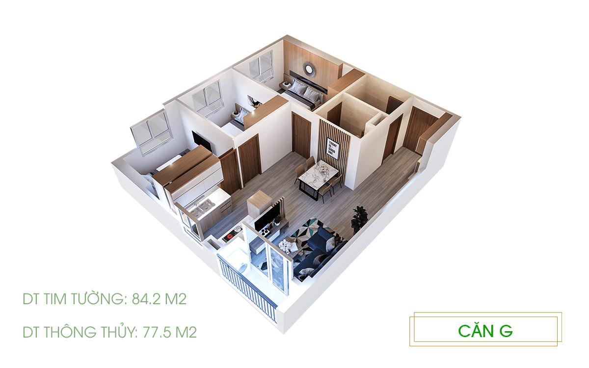 hình 3D căn 3pn căn hộ Ecolife Riverside